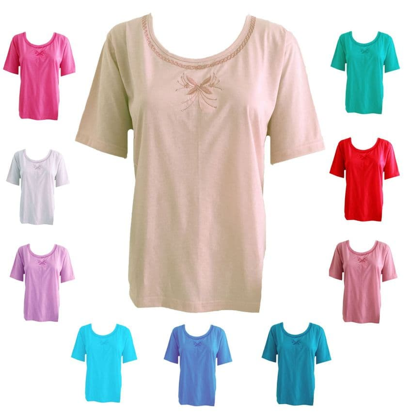PLAIN T-SHIRT TEE TOP EMBROIDERED BUTTERFLY SHORT SLEEVE ROUND NECK COTTON RICH